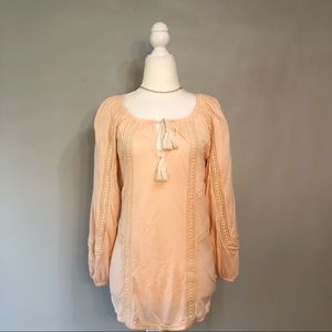 Lucky Brand Mixed Lace Boho Peasant Top